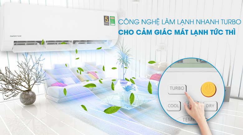 Turbo - Máy lạnh Aqua Inverter 1HP AQA-KCRV9WNZ