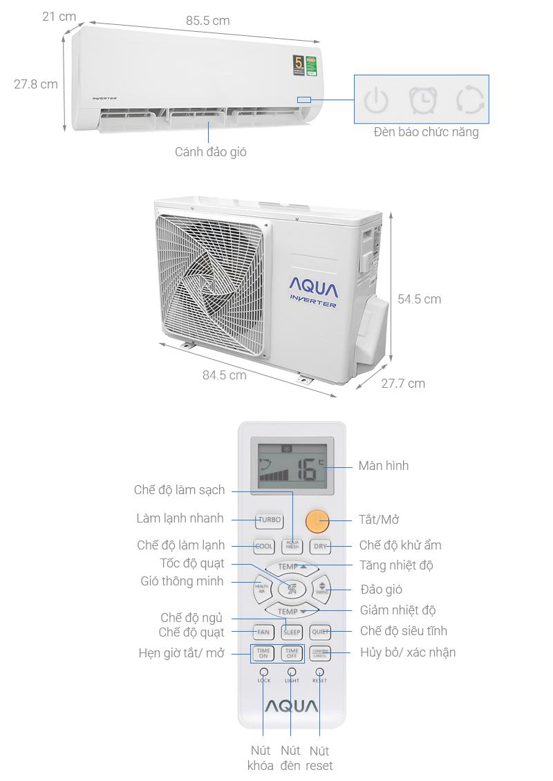 Thông số kỹ thuật Máy lạnh Aqua Inverter 1.5 HP AQA-KCRV12WNZ