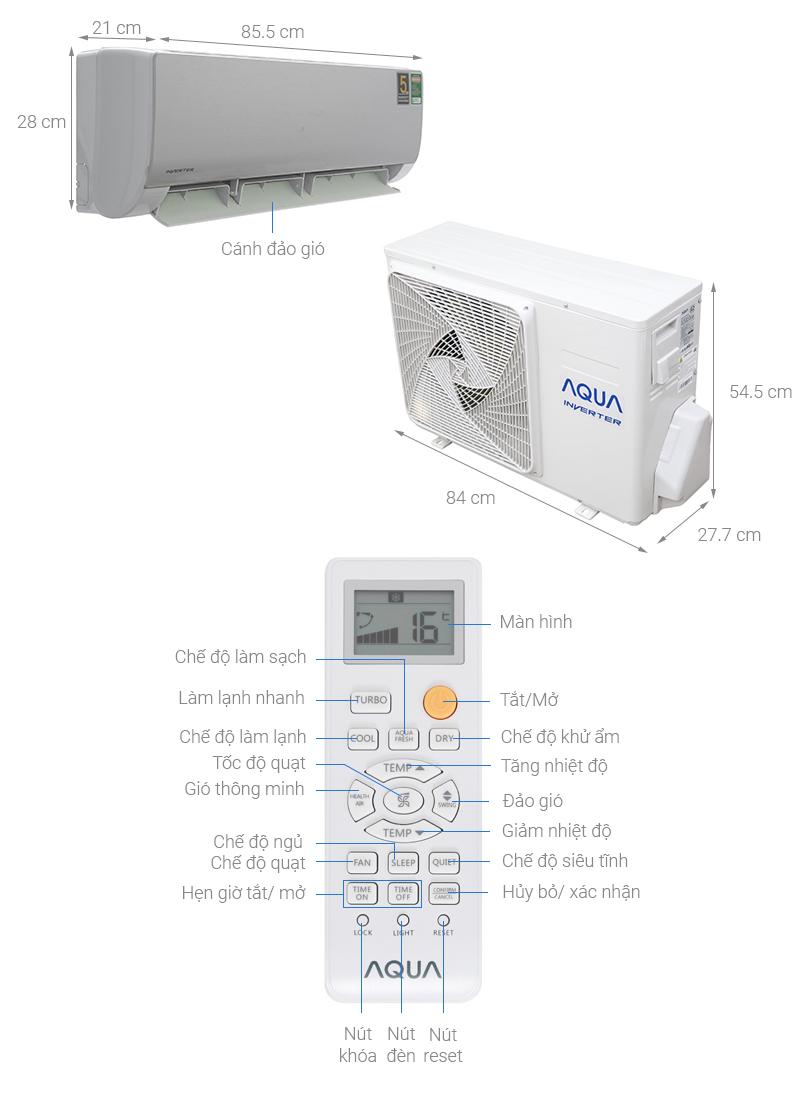 Thông số kỹ thuật Máy lạnh Aqua Inverter 1 HP AQA-KCRV10NB