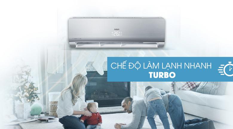 Làm lạnh nhanh Turbo - Máy lạnh Aqua Inverter 1.5 HP AQA-KCRV13NB