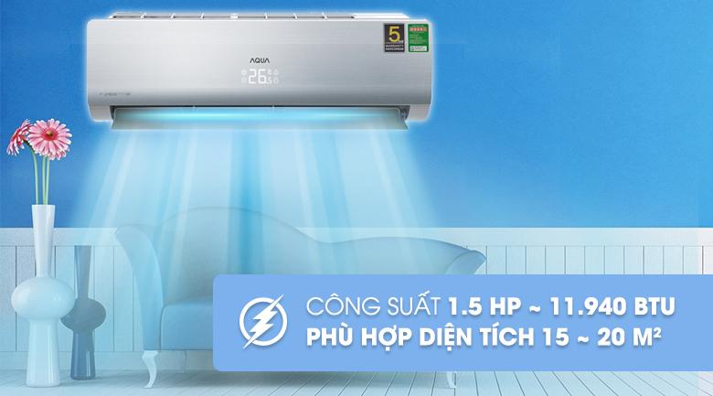 Công suất 1.5 HP - Máy lạnh Aqua Inverter 1.5 HP AQA-KCRV13NB Mẫu 2019