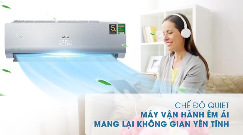 Chế độ QUIET - Máy lạnh Aqua Inverter 1.5 HP AQA-KCRV13NB Mẫu 2019