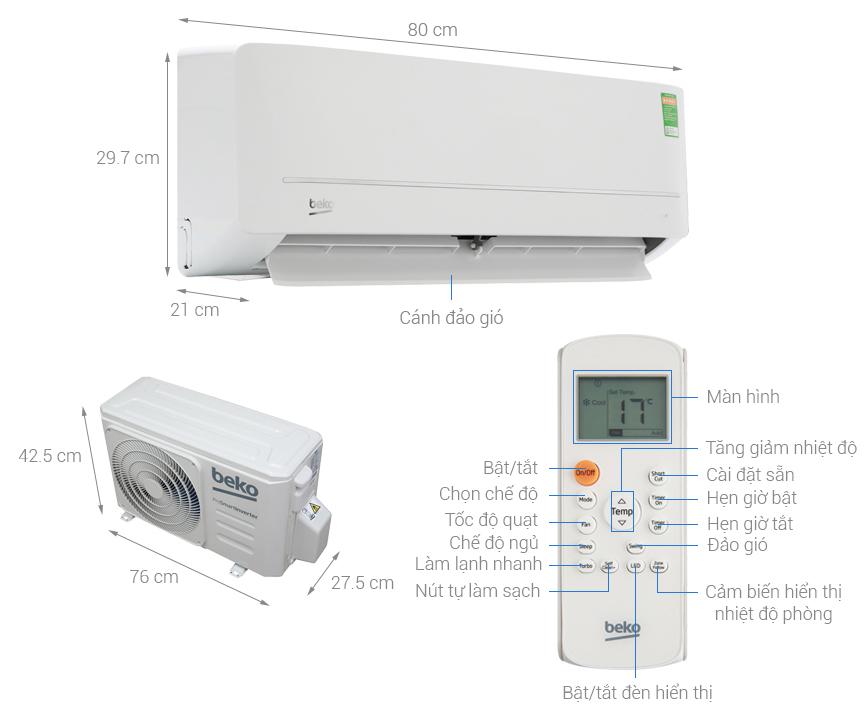 Thông số kỹ thuật Máy lạnh Beko Inverter 1 HP RSVC09VS