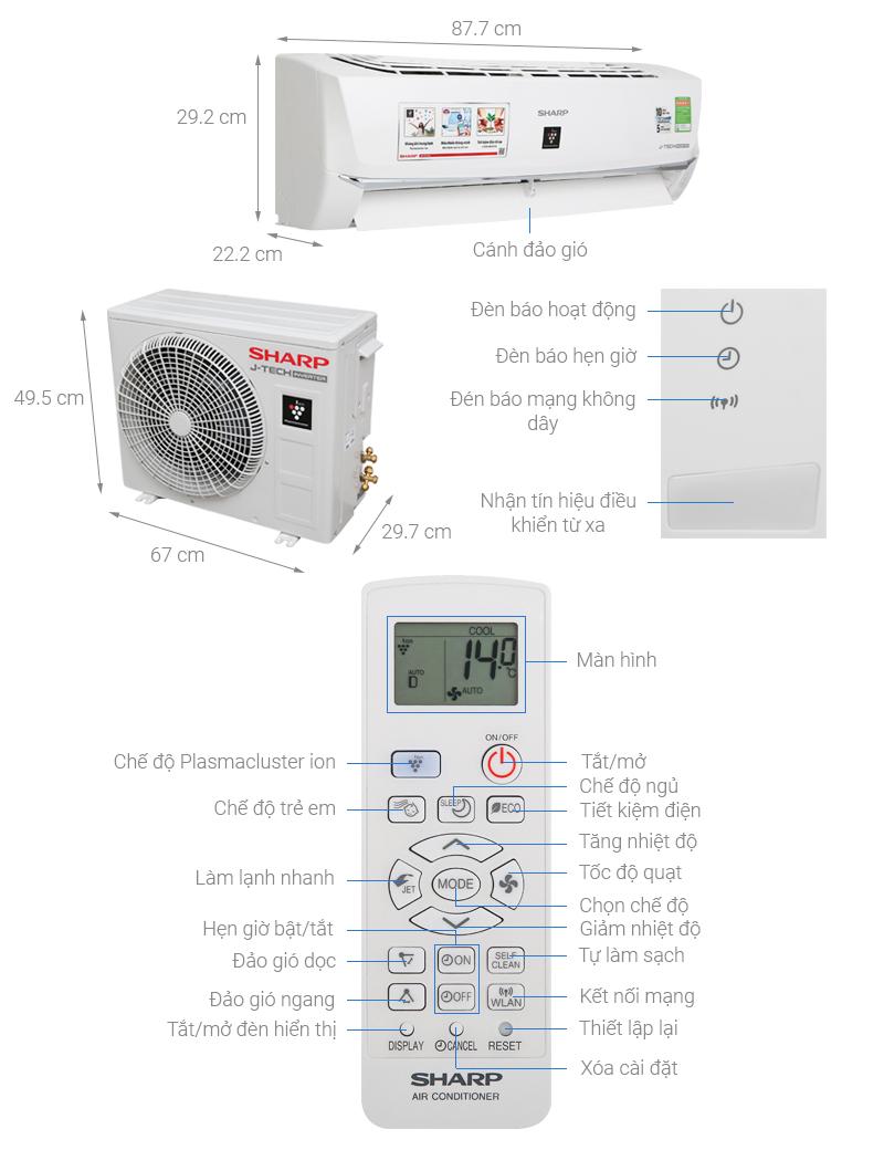 Thông số kỹ thuật Điều hòa Sharp Wifi Inverter 9000 BTU AH-XP10WHW
