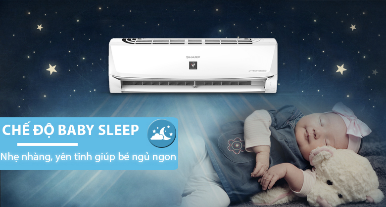 Baby Sleep - Máy lạnh Sharp Inverter 1 HP AH-XP10WHW