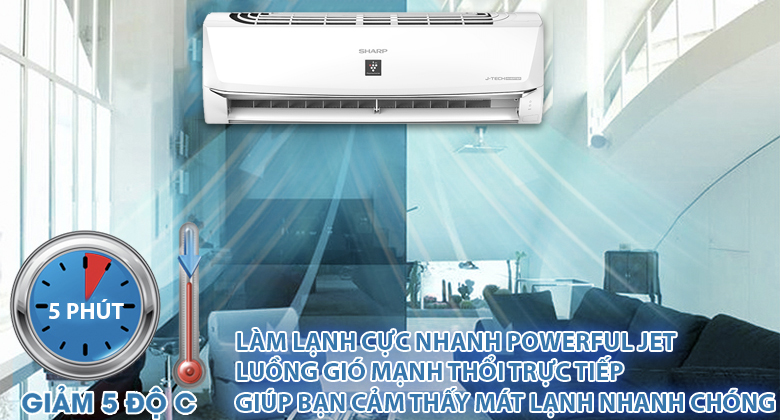 Powerful Jet - Máy lạnh Sharp Inverter 1.5 HP AH-XP13WMW