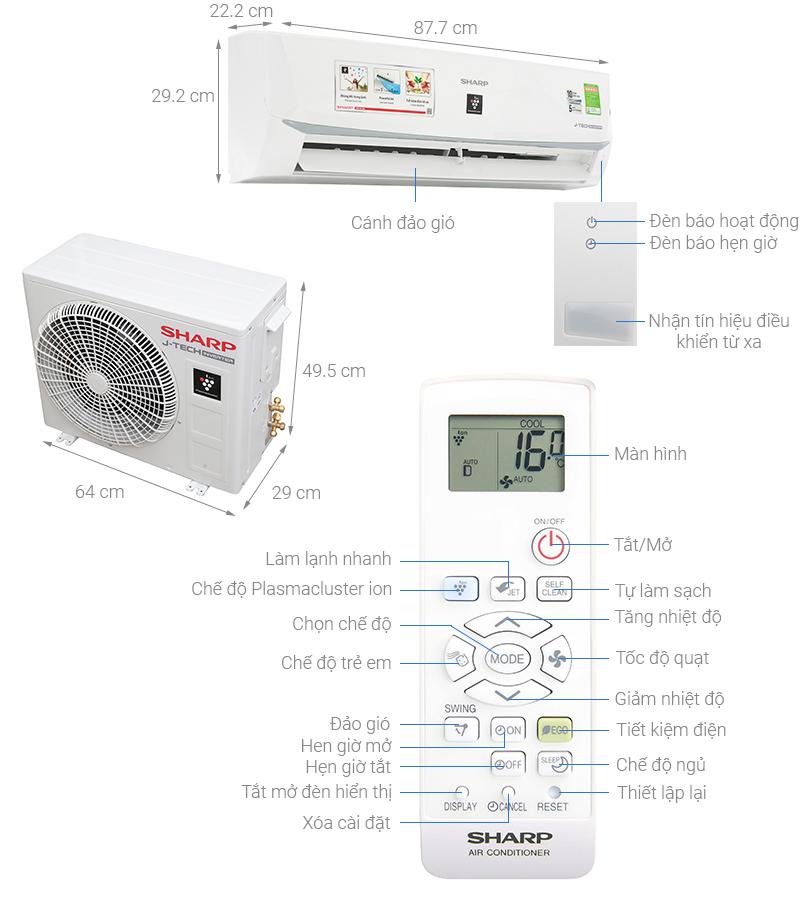 Thông số kỹ thuật Máy lạnh Sharp Inverter 1.5 HP AH-XP13WMW