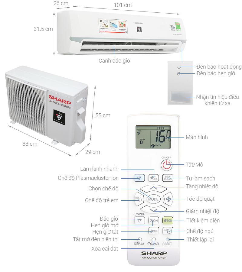 Thông số kỹ thuật Máy lạnh Sharp Inverter 2 HP AH-XP18WMW