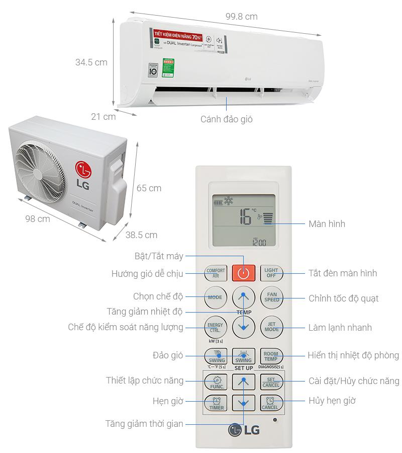 Thông số kỹ thuật Máy lạnh LG Inverter 2.5 HP V24ENF