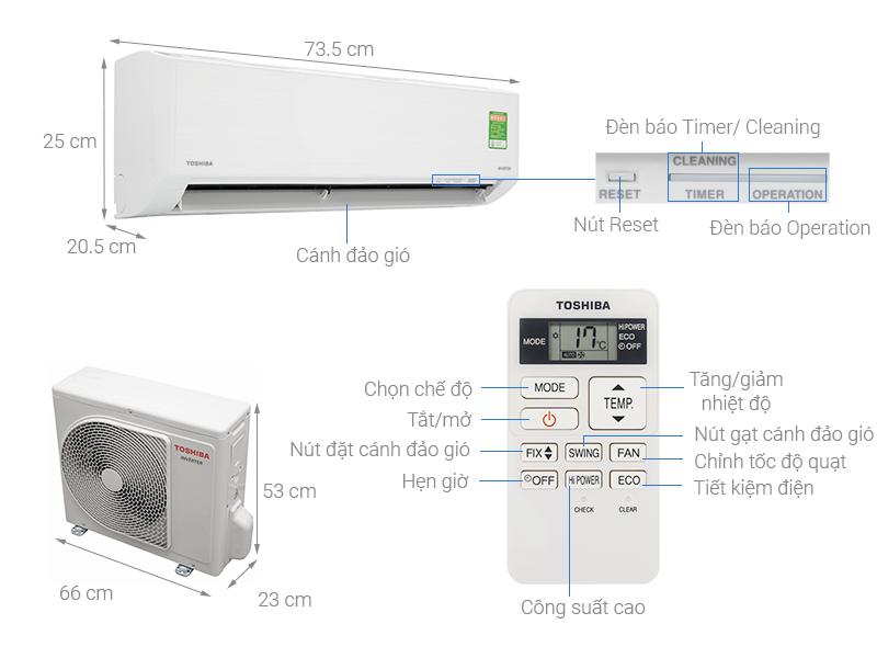 Thông số kỹ thuật Máy lạnh Toshiba Inverter 1 HP RAS-H10D1KCVG-V