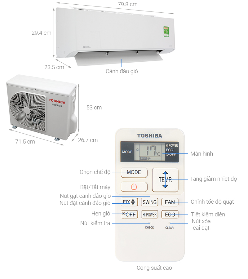 Thông số kỹ thuật Máy lạnh Toshiba Inverter 1.5 HP RAS-H13C1KCVG-V