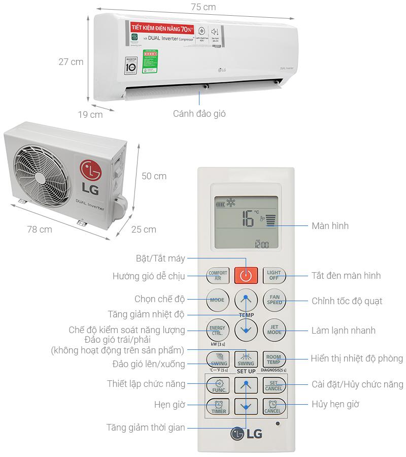 Thông số kỹ thuật Điều hòa LG Inverter 9200 BTU V10ENH