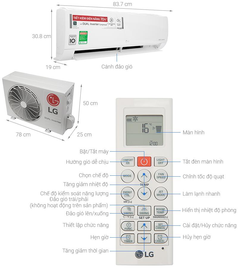 Thông số kỹ thuật Máy lạnh LG Inverter 1.5 HP V13ENH