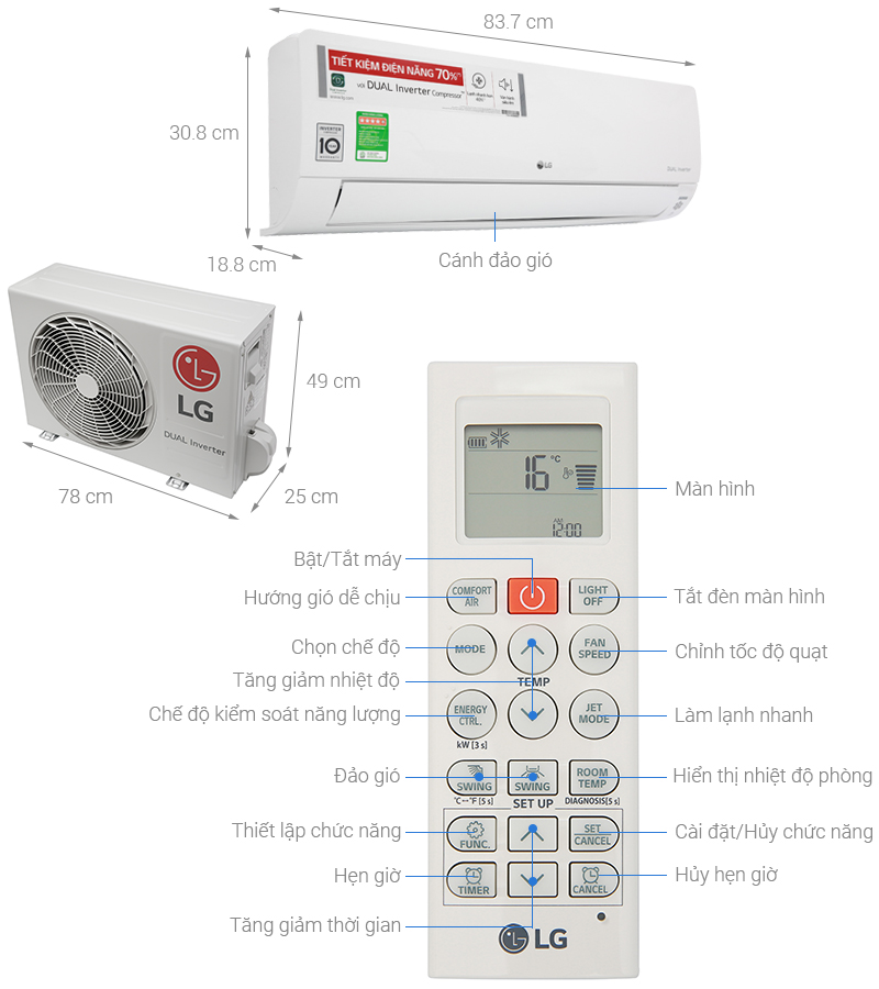 Thông số kỹ thuật Máy lạnh LG Inverter 1.5 HP V13APH