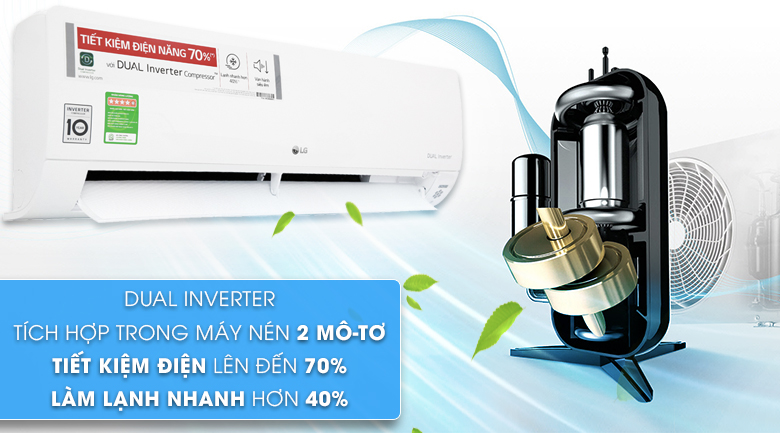 Công nghệ Dual Inverter - Máy lạnh LG Inverter 1.5 HP V13APH