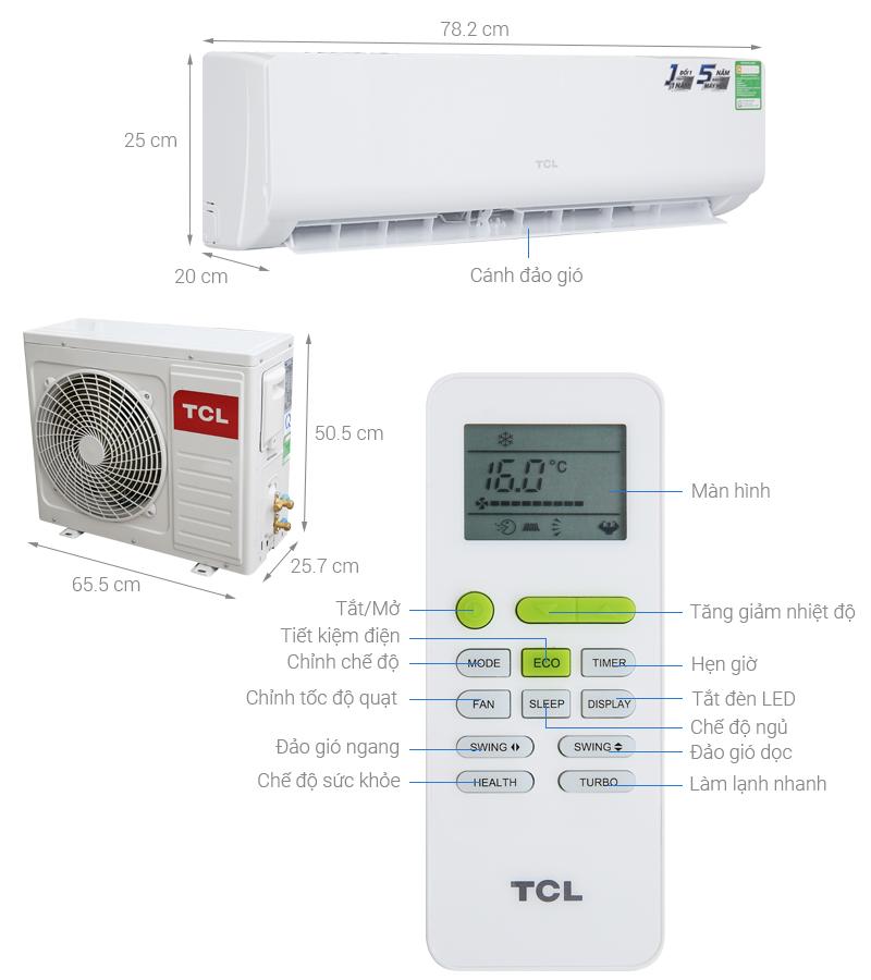 Thông số kỹ thuật Máy lạnh TCL 1 HP TAC-N09CS/KC41