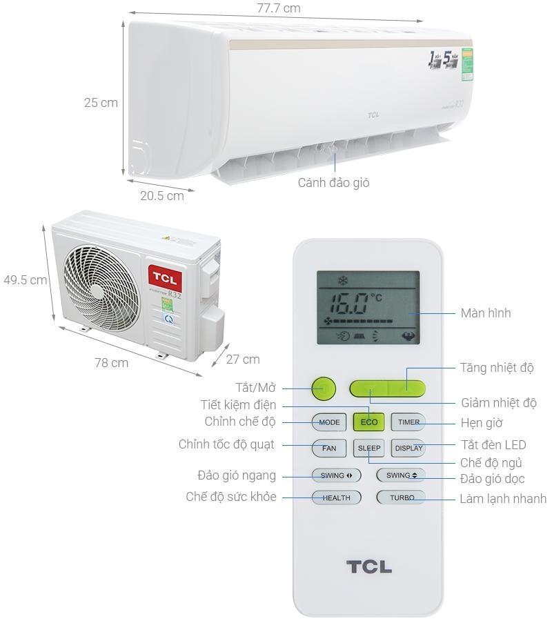 Thông số kỹ thuật Máy lạnh TCL Inverter 1 HP TAC-10CSI/KE88N