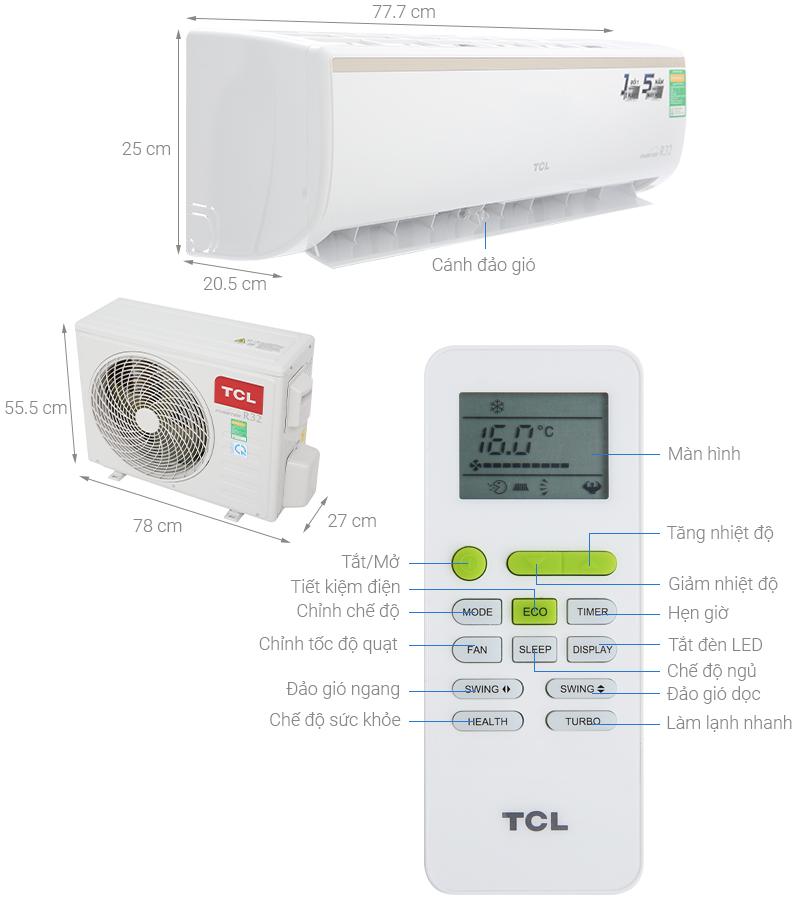 Thông số kỹ thuật Máy lạnh TCL Inverter 1.5 HP TAC-13CSI/KE88N
