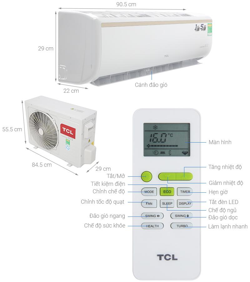 Thông số kỹ thuật Máy lạnh TCL Inverter 2 HP TAC-18CSI/KE88N