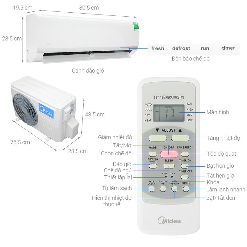 Thông số kỹ thuật Máy lạnh Midea 1 HP MSAF-10CRN8