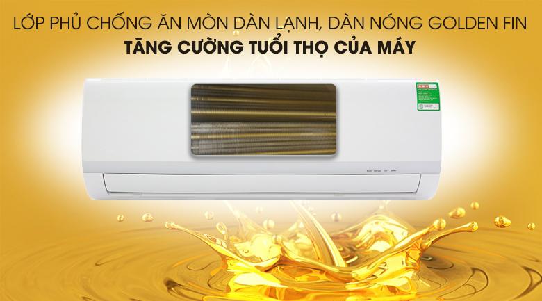 Lớp phủ Golden Fin trên dàn lạnh, dàn nóng chống ăn mòn và tăng tuổi thọ máy.