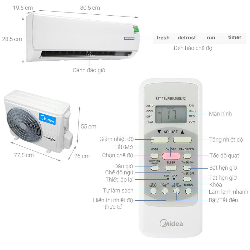 Thông số kỹ thuật Máy lạnh Midea Inverter 1 HP MSAF-10CRDN8