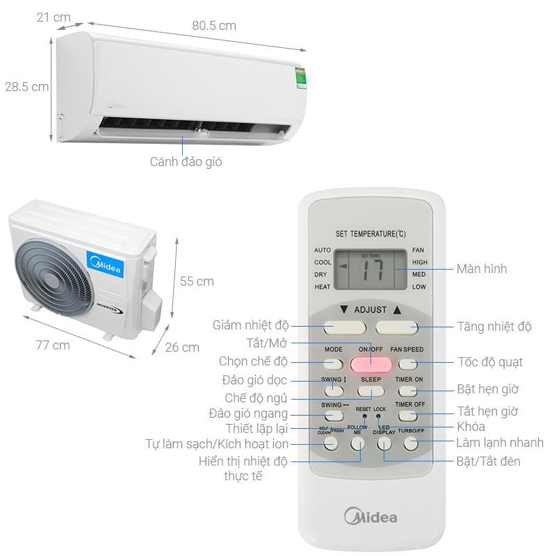 Thông số kỹ thuật Máy lạnh Midea Inverter 1 HP MSFR-10CRDN8