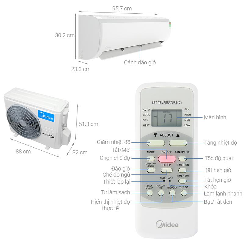 Thông số kỹ thuật Máy lạnh Midea Inverter 2 HP MSFR-18CRDN8