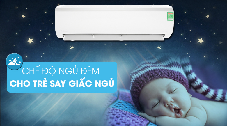 Chế độ ngủ đêm - Máy lạnh Midea Inverter 2 HP MSFR-18CRDN8 Mẫu 2019