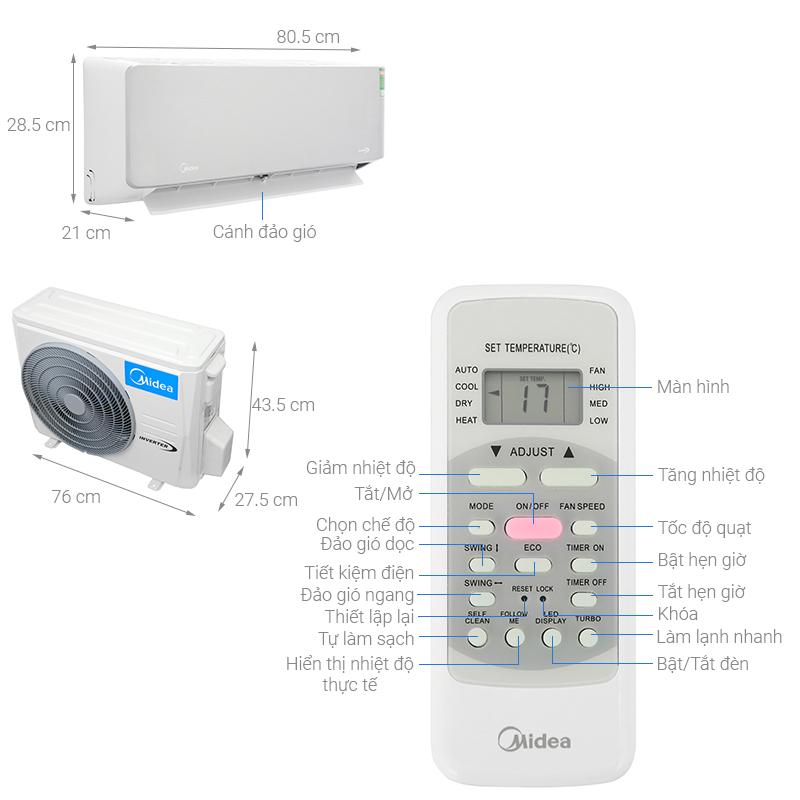 Thông số kỹ thuật Điều hòa Midea Invereter 9500 BTU MSAB-10CRDN8