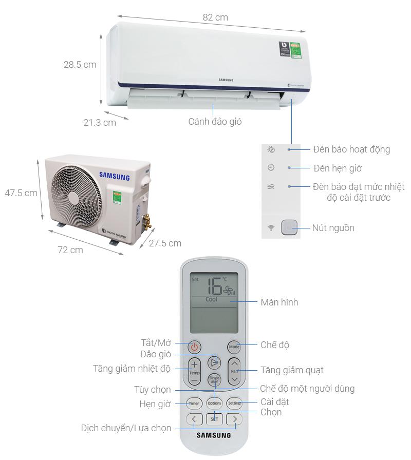 Thông số kỹ thuật Máy lạnh Samsung Inverter 1 HP AR10RYFTAURNSV