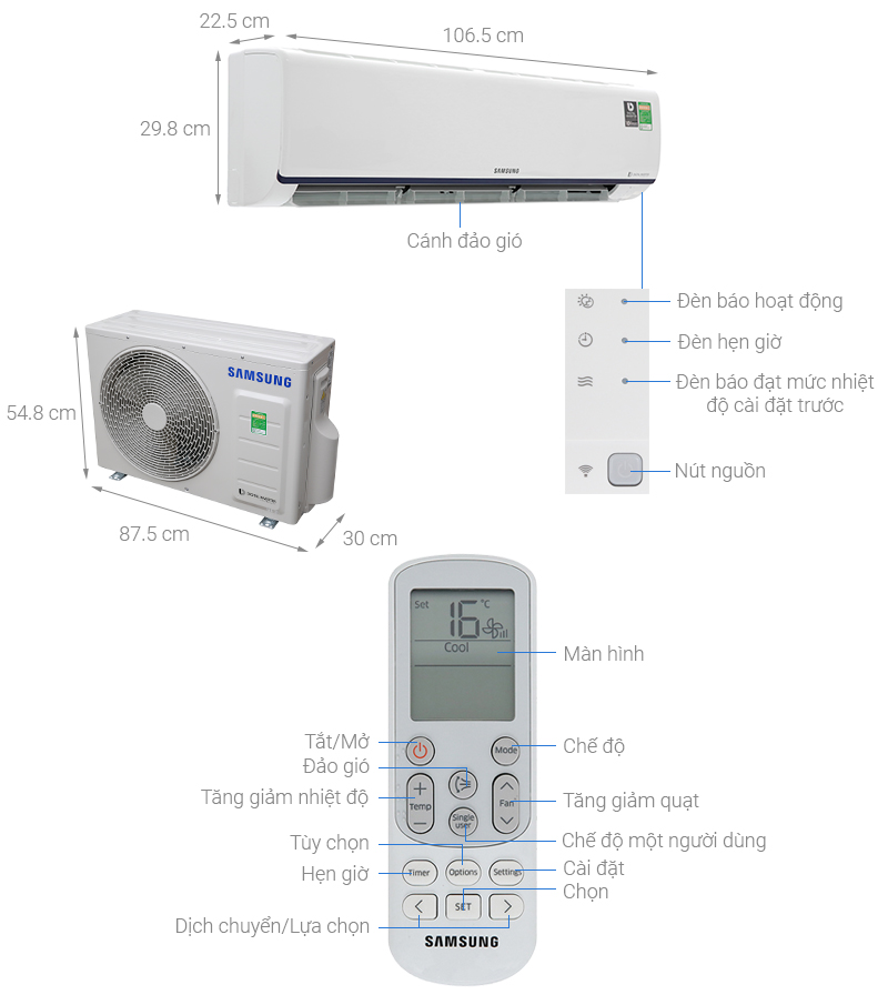 Thông số kỹ thuật Máy lạnh Samsung Inverter 2 HP AR18RYFTAURNSV