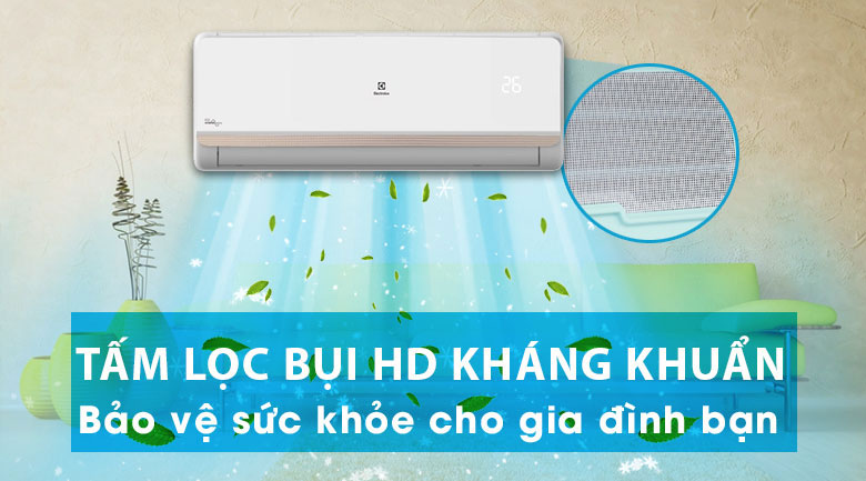 Bộ lọc bụi HD lọc sạch vi khuẩn - Máy lạnh Electrolux Inverter 2 HP ESV18CRR-C2