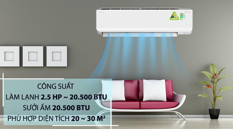 Công suất hoạt động 20.500 BTU - Máy lạnh 2 chiều Daikin Inverter 2.5 HP FTHF60RVMV