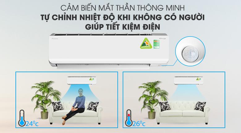 Tiết kiện điện năng với cảm biến mắt thần thông minh - Máy lạnh 2 chiều Daikin Inverter 2.5 HP FTHF60RVMV