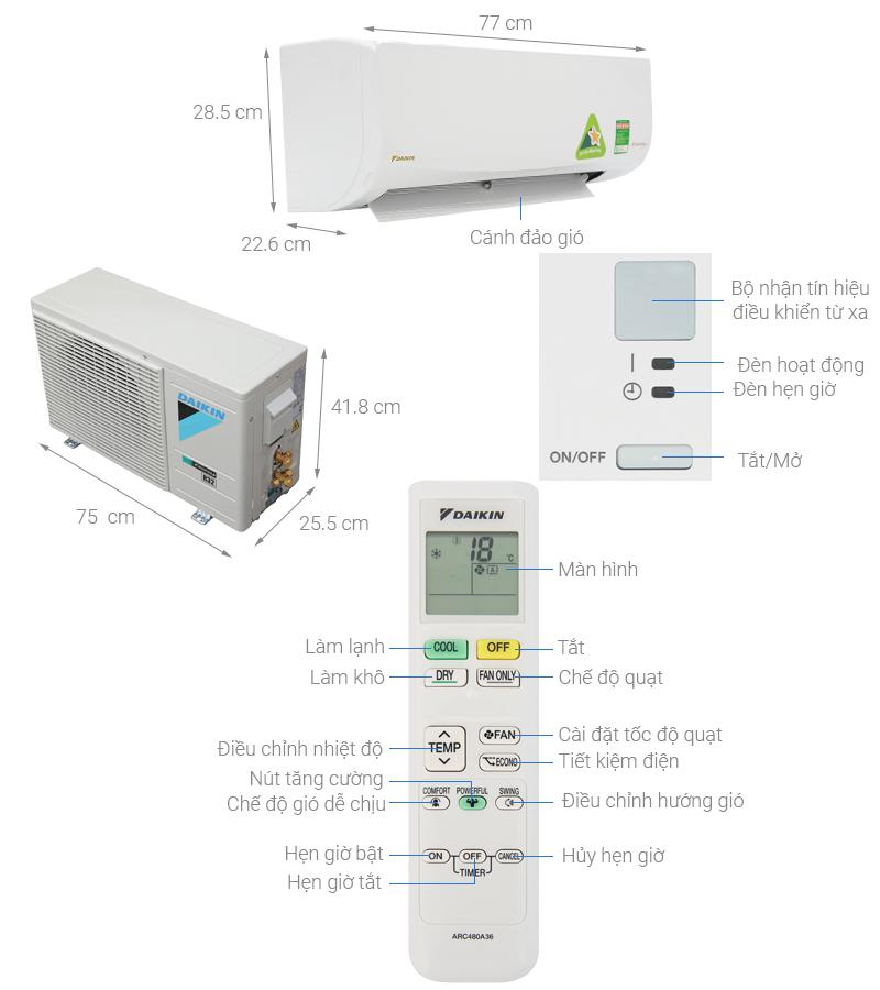 Thông số kỹ thuật Máy lạnh Daikin Inverter 1 HP ATKQ25TAVMV