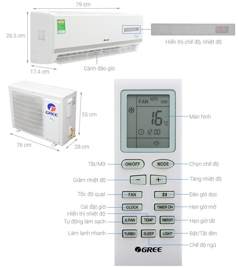 Thông số kỹ thuật Máy lạnh Gree Inverter 1 HP GWC09WA-K3D9B7I
