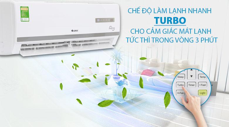 công nghệ làm lạnh nhanh Turbo - Bộ lọc trà xanh và carbon hoạt tính - Máy lạnh Gree Inverter 1 HP GWC09WA-K3D9B7I