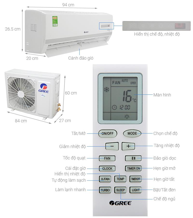 Thông số kỹ thuật Máy lạnh Gree Inverter 2 HP GWC18WC-K3D9B7N