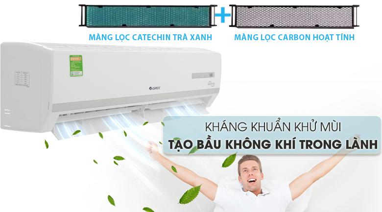 Bộ lọc trà xanh Catechin & Carbon hoạt tính - Máy lạnh Gree Inverter 2 HP GWC18WC-K3D9B7N Mẫu 2019