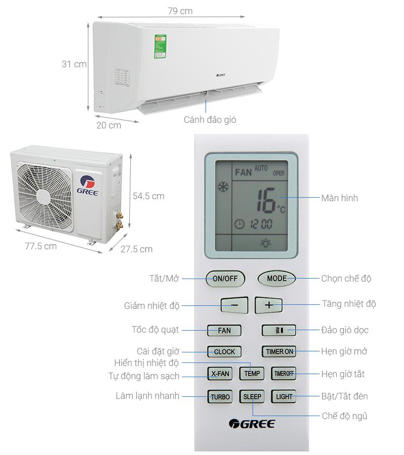 Thông số kỹ thuật Máy lạnh Gree 1 HP GWC09IB-K3N9B2I