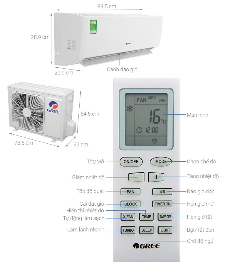 Thông số kỹ thuật Máy lạnh Gree 1.5 HP GWC12IC-K3N9B2J