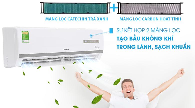 Bộ lọc trà xanh Catechin & Carbon hoạt tính - Máy điều hòa 2 chiều Gree Inverter 9000 BTU GWH09WA-K3D9B7L