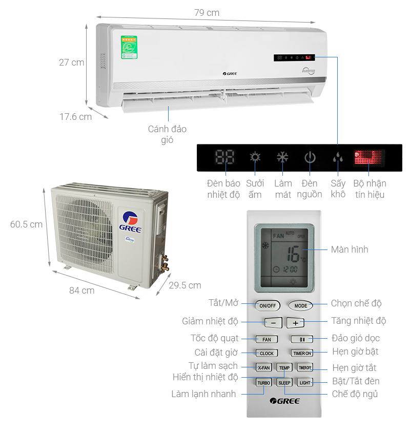 Thông số kỹ thuật Máy điều hòa 2 chiều Gree Inverter 1.5 HP GWH12WA-K3D9B7I