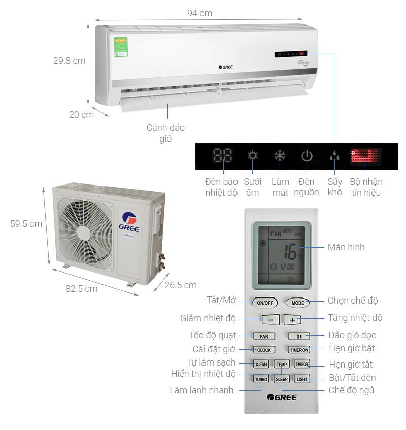 Thông số kỹ thuật Máy điều hòa 2 chiều Gree Inverter 2 HP GWH18WC-K3D9B7N