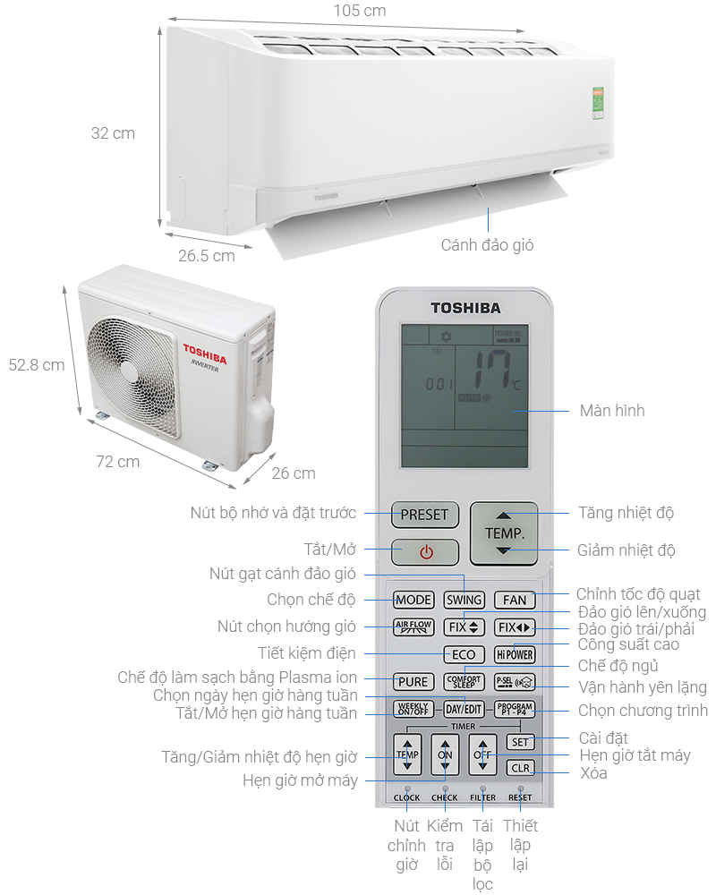Thông số kỹ thuật Máy lạnh Toshiba Inverter 2 HP RAS-H18J2KCVRG-V
