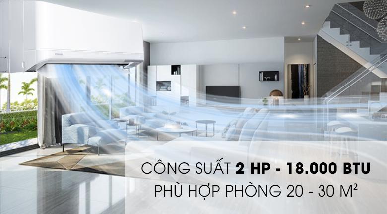 Công suất 2 HP - Máy lạnh Toshiba Inverter 2 HP RAS-H18J2KCVRG-V Mẫu 2019