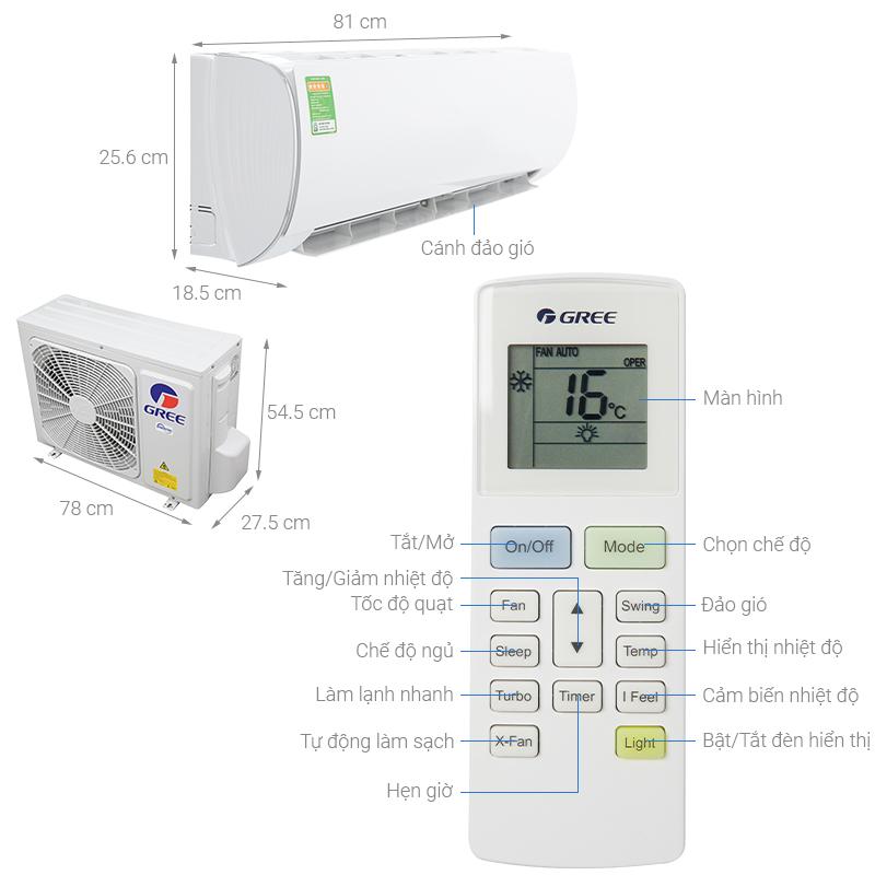 Thông số kỹ thuật Máy lạnh Gree Inverter 1.5 HP GWC12FB-K6D9A1W