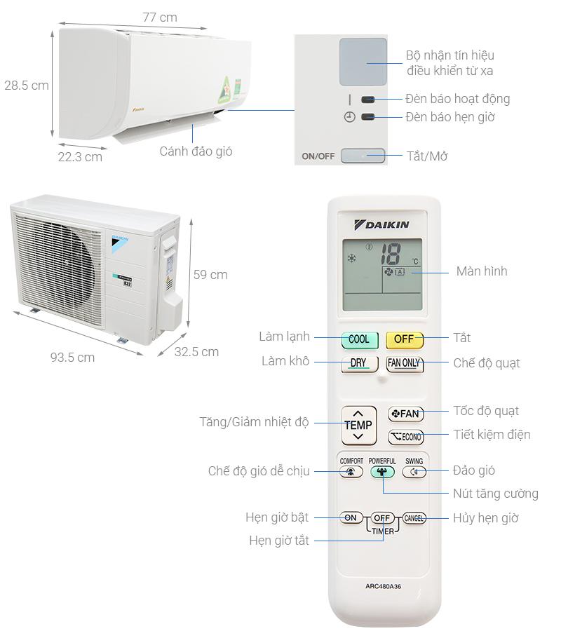 Thông số kỹ thuật Máy lạnh Daikin Inverter 2 HP FTKQ50SAVMV