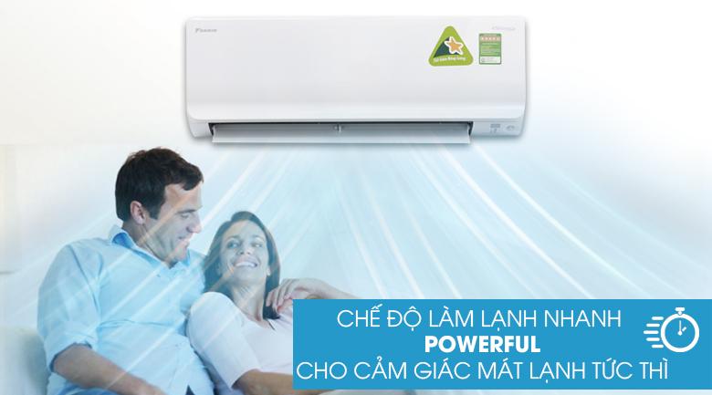 Làm lạnh nhanh Powerful - Máy lạnh Daikin Inverter 1.0 HP ATKC25UAVMV